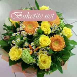 Букет с рози, гербери и добавки