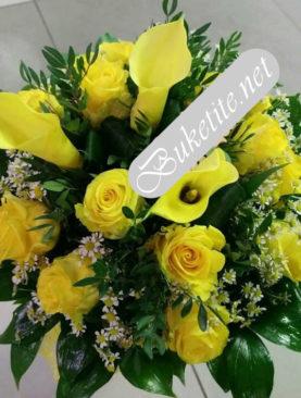 Букет с рози, кали и добавки B053