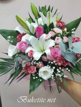 Букет с лилиум, рози,  евкалипт и добавки B056