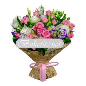 Букет с рози и лизиантуси B057