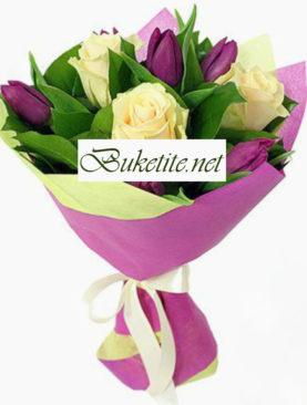 Пролетен букет с лалета и рози PB022