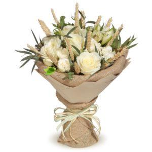 """букети -""""Еко букет """"от бели рози в зебло 50 лв"""