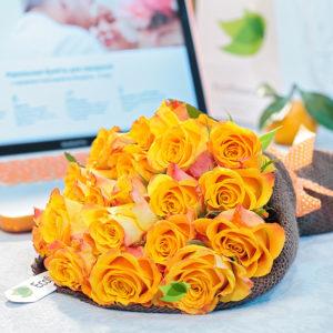 букет СЛЪНЦЕс 17ж.рози в зебло 76 лв